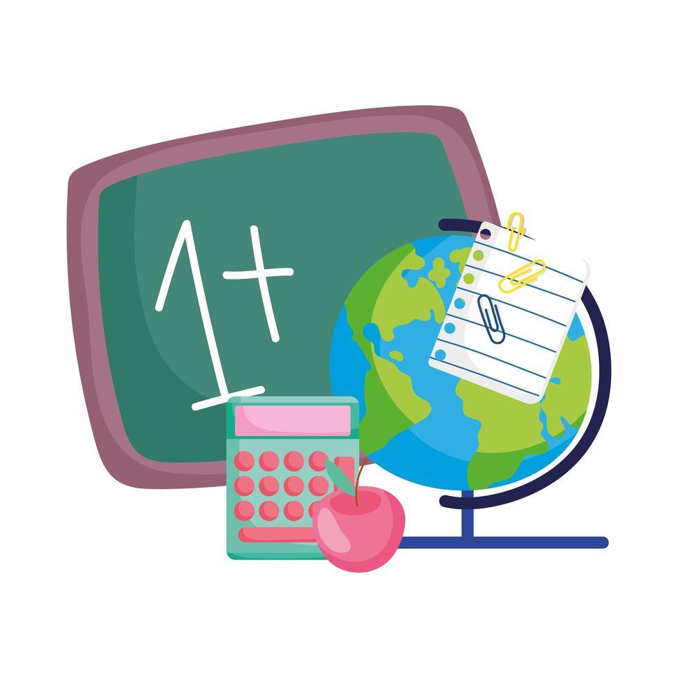 terug naar school, wiskunde voorbeeld schoolbord wereldbol kaart rekenmachine appel vector