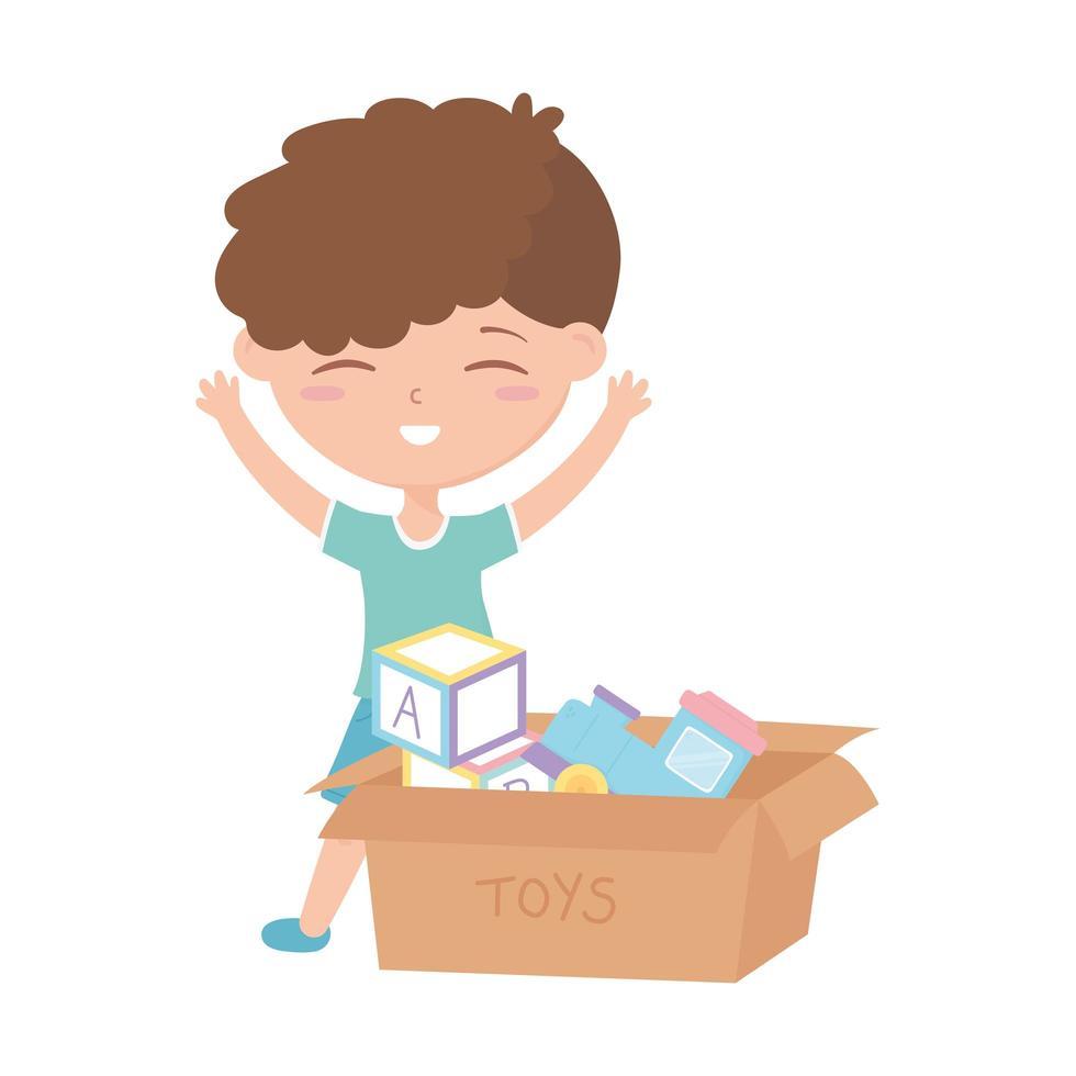 kids zone, schattige kleine jongen met speelgoed gevuld doos vector