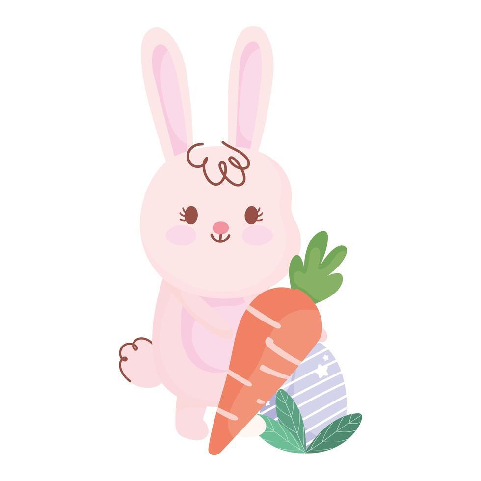 gelukkig Pasen-konijn met wortel en eicartoon vector