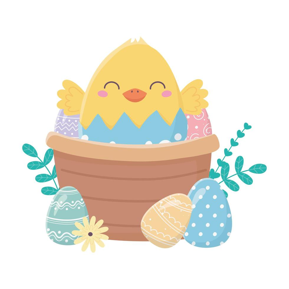 gelukkige paasdag, kip in eierschaal mand eieren bloemen cartoon vector