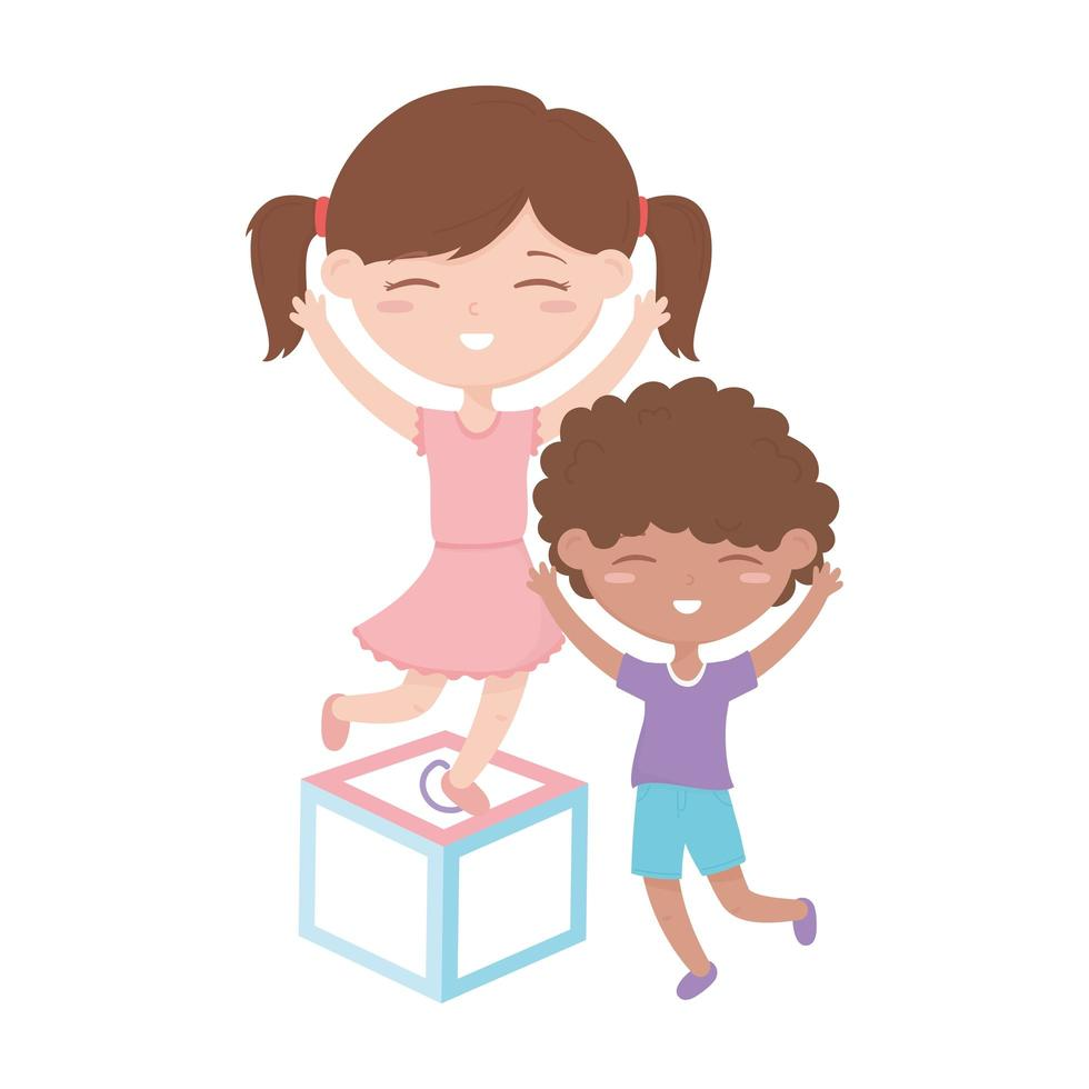 kinderzone, schattige kleine jongen en meisje op blokspeelgoed vector