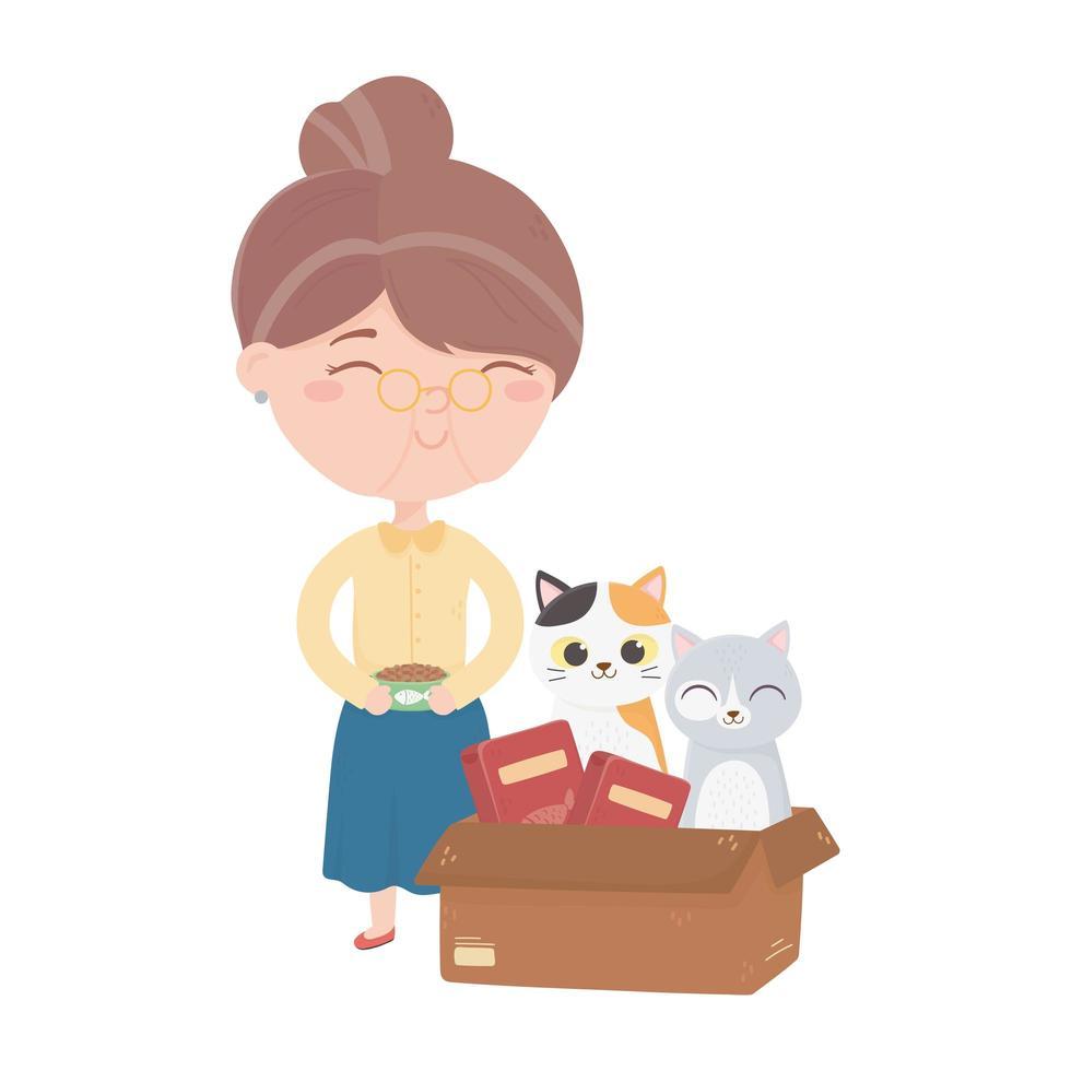 katten maken me blij, oude vrouw met eten en kat in doos cartoon vector