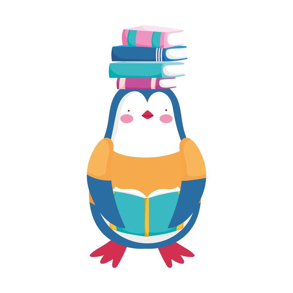 terug naar school, pinguïn met boeken over hoofdbeeldverhaal vector