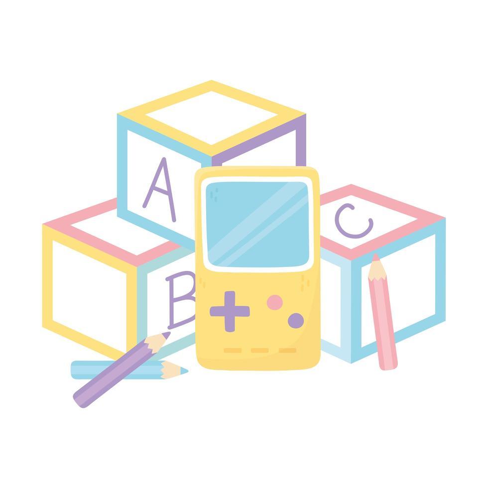kids zone, alfabet blokken videogame en potloden kleur speelgoed vector