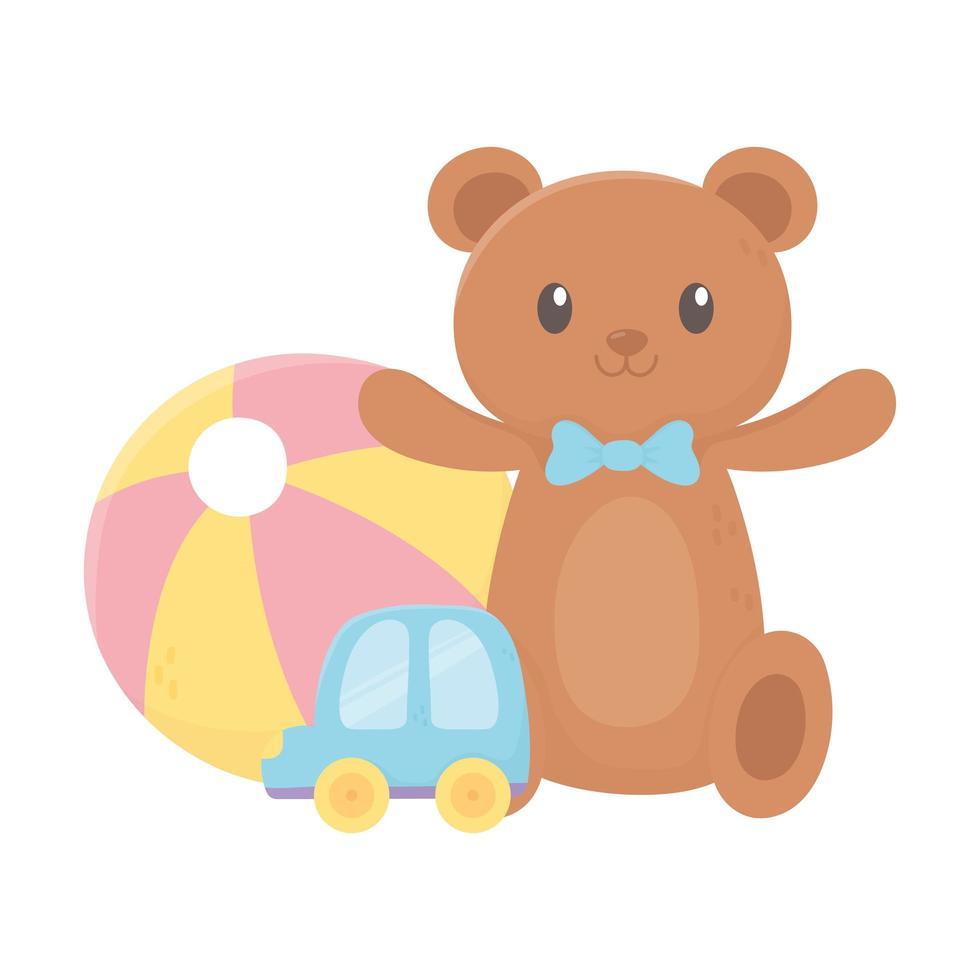 kinderzone, plastic teddybeerbal en autospeelgoed vector