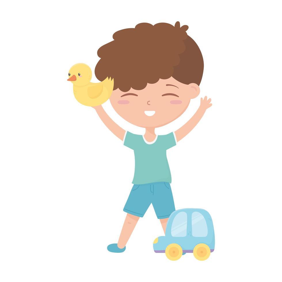 kids zone, kleine jongen speelt met eend en autospeelgoed vector
