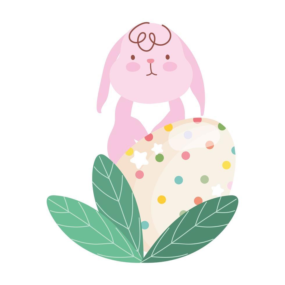 gelukkig Pasen-roze konijn en decortive eiblad vector