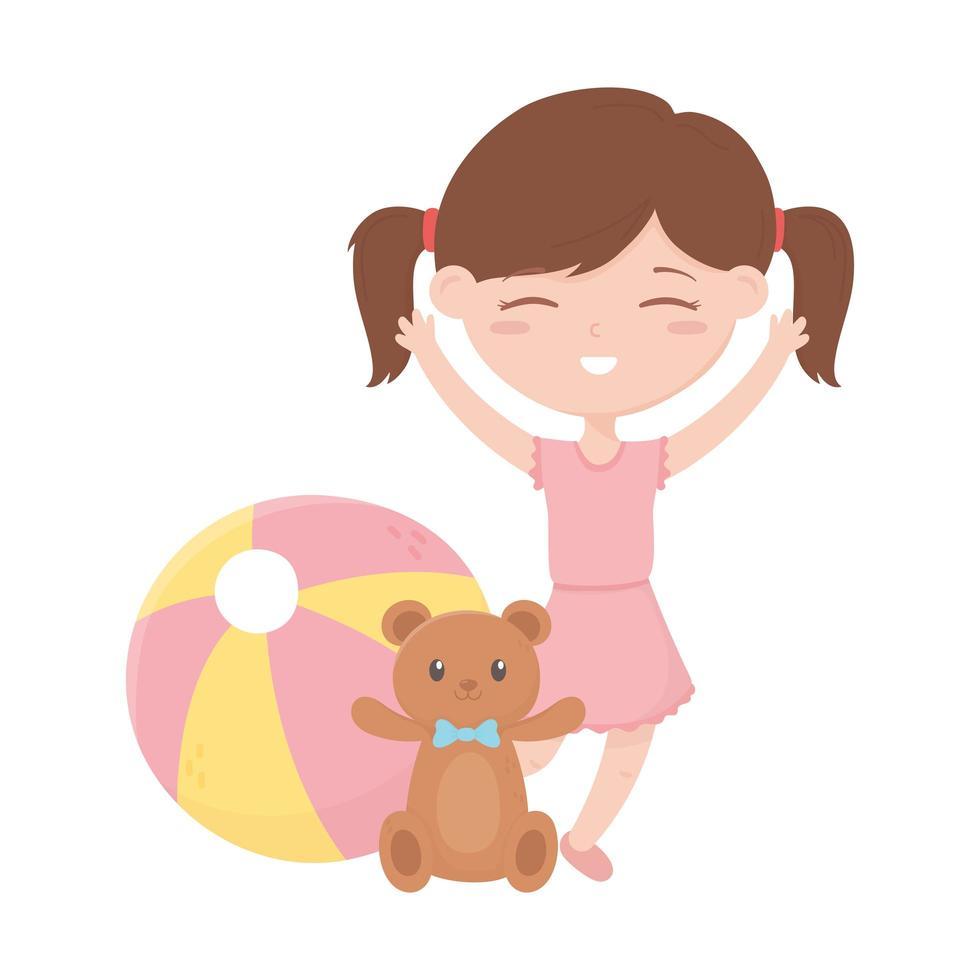 kinderzone, schattig klein meisje met teddybeer en balspeelgoed vector