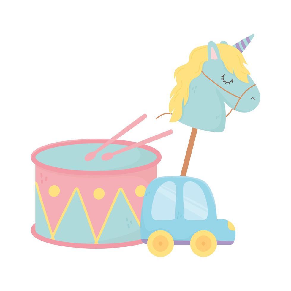 kinderzone, speelgoed trommelpaard in stok en autocartoon vector