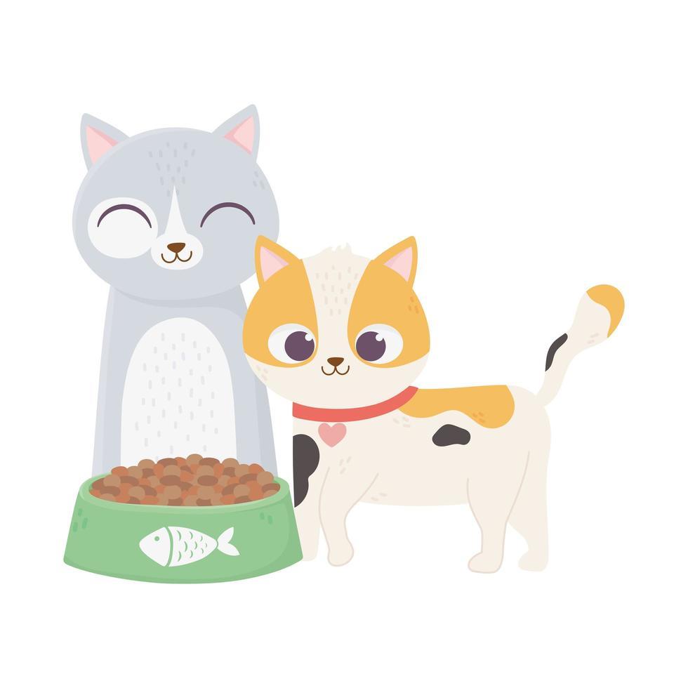 katten maken me blij, schattige katten met kom eten cartoon vector
