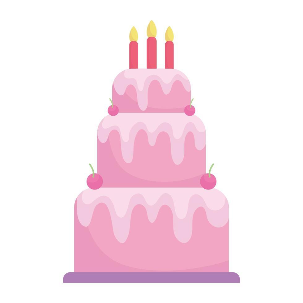verjaardagstaart met kaarsen menu karakter cartoon eten vector