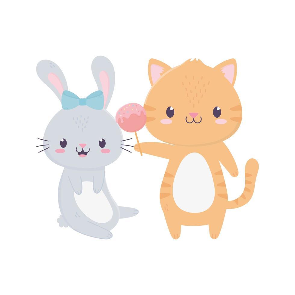 gelukkige verjaardag tijger en konijn viering decoratie vector