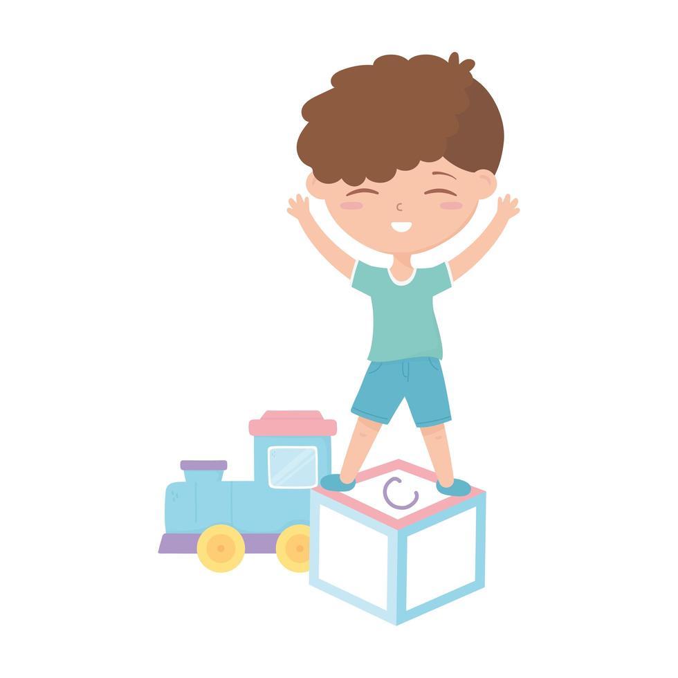 kids zone, schattige kleine jongen alfabet blok trein cartoon speelgoed vector