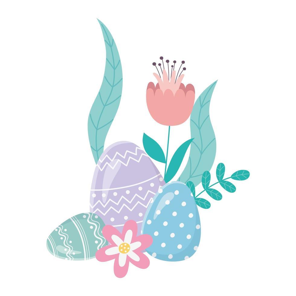 gelukkige paasdag, decoratieve eieren bloemen gebladerte bladeren kaart vector