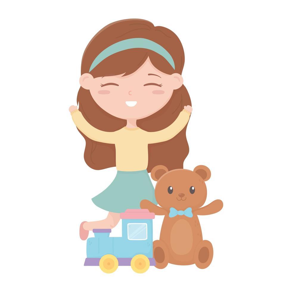 kids zone, schattig klein meisje speelgoed teddybeer trein cartoon vector