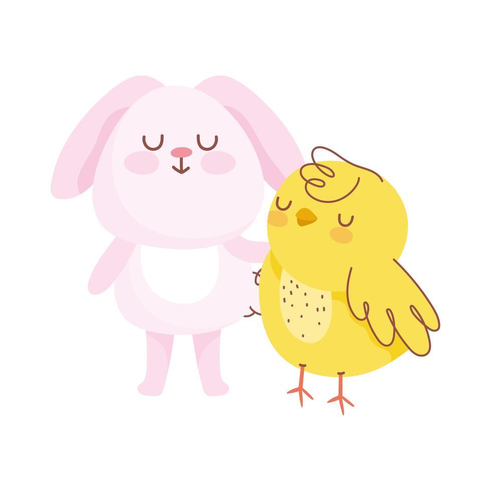 gelukkig Pasen roze konijn met kippenbeeldverhaal vector