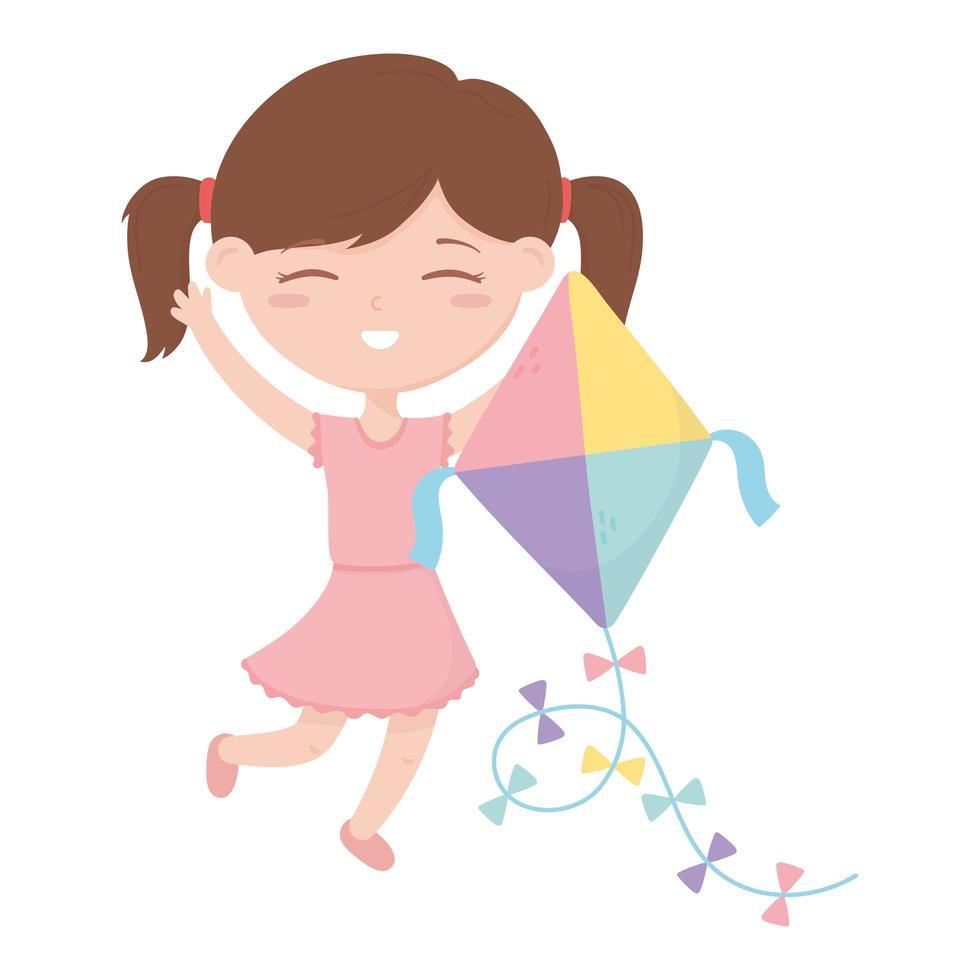 kids zone, schattig klein meisje speelt met haar vlieger cartoon speelgoed vector