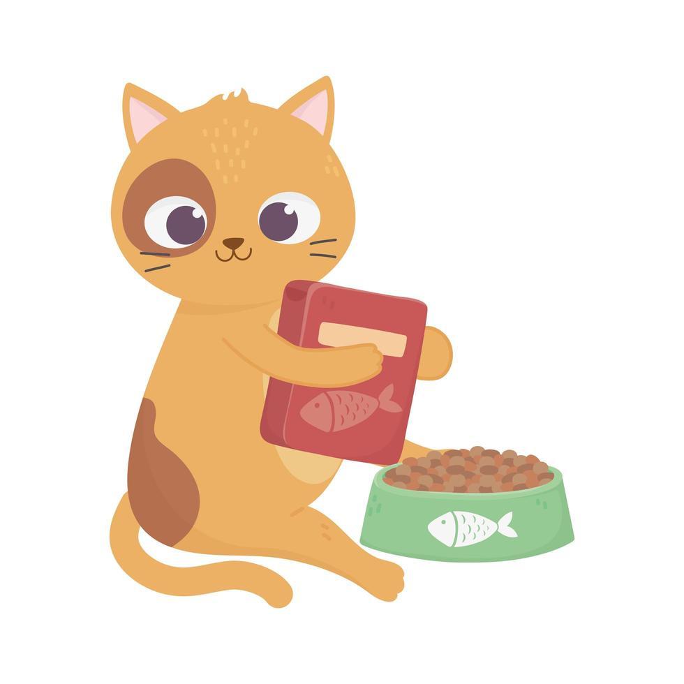 katten maken me blij, schattige kat met voedseldoos en kom vector