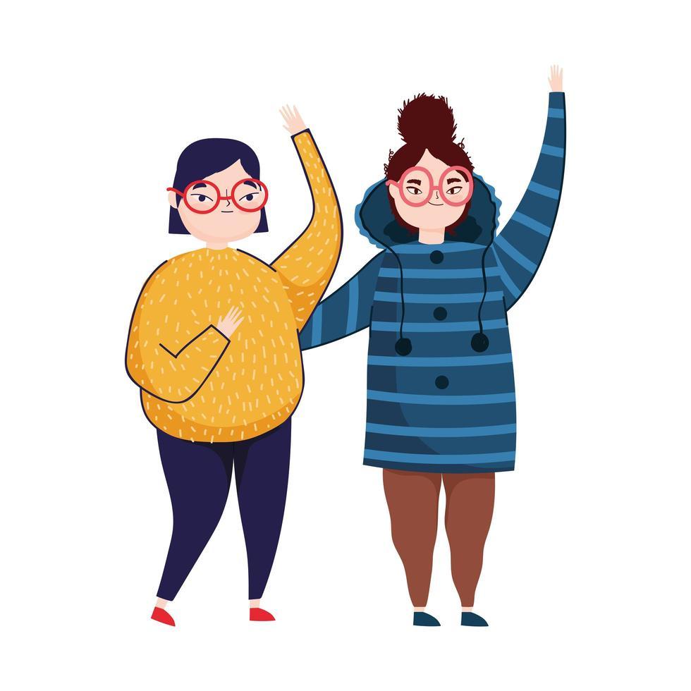 jonge vrouwen handen zwaaien karakter vector