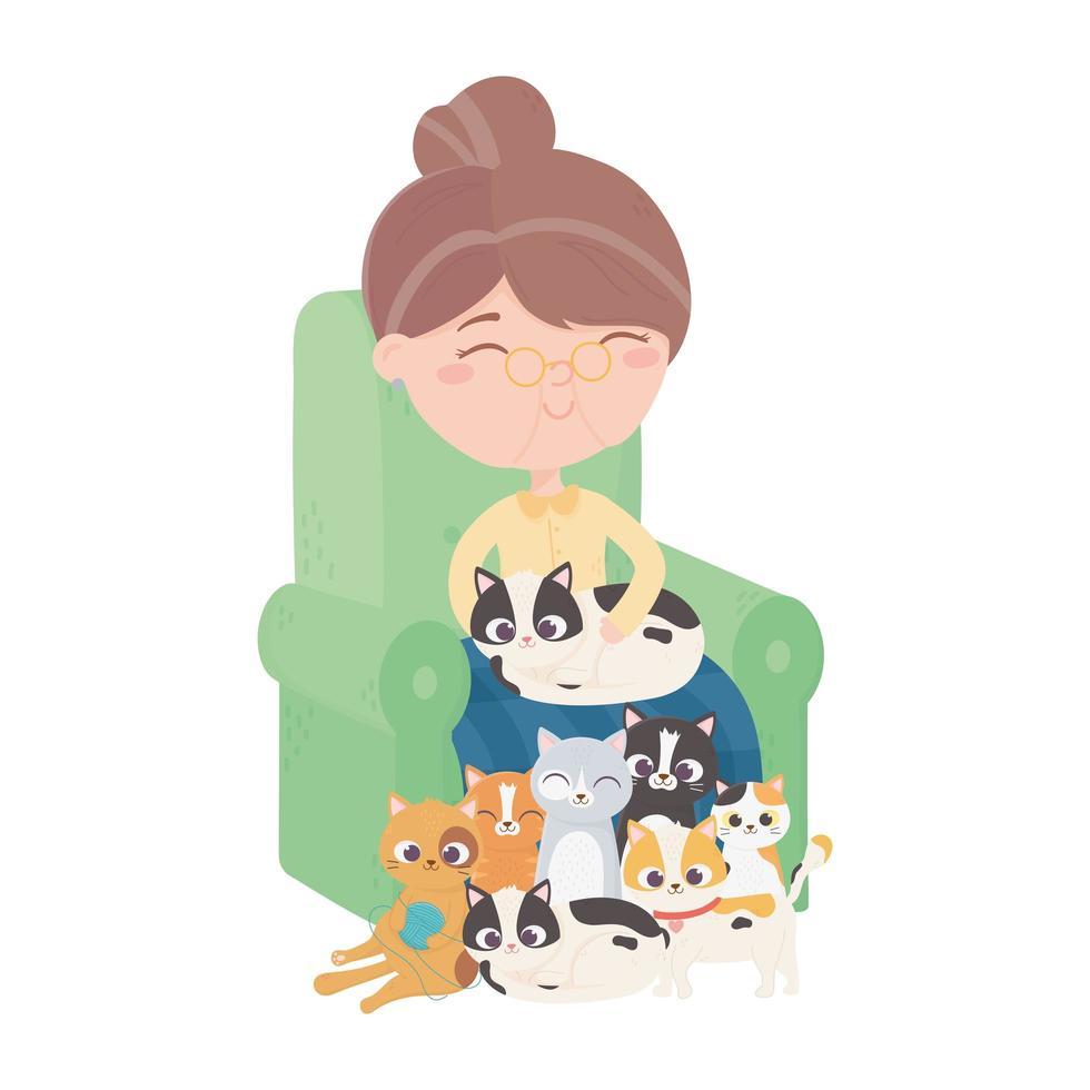 katten maken me blij, oude vrouw zit met kittens op de bank vector
