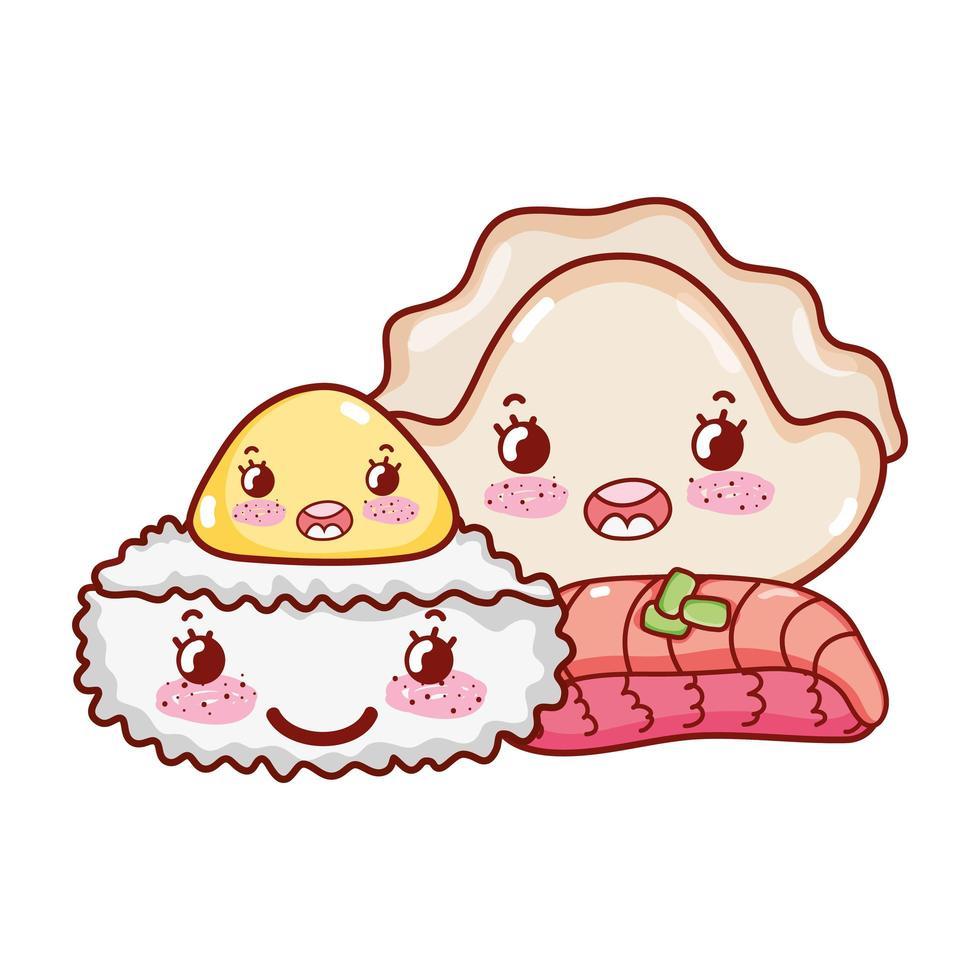 kawaii rijstrol vlees knoedel en koekjes eten japanse cartoon, sushi en broodjes vector
