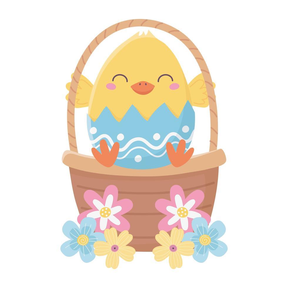 gelukkige paasdag, kip in de bloemendecoratie van de eierschaalmand vector