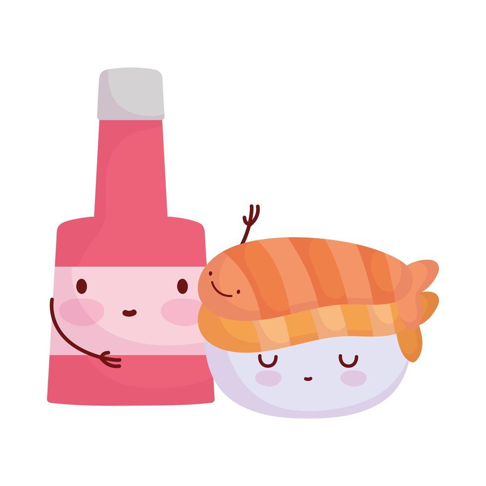 sushi en saus fles menu karakter cartoon eten schattig vector