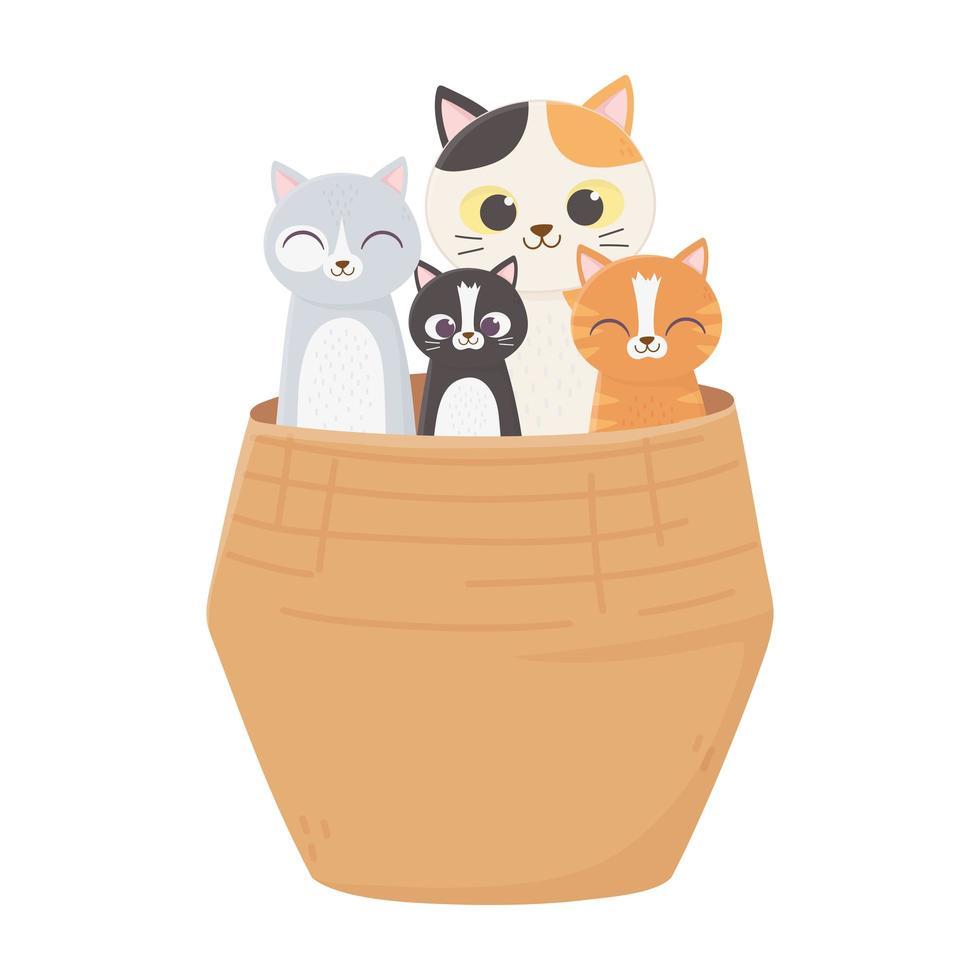schattige katten in de rieten mand geïsoleerd op een witte achtergrond vector