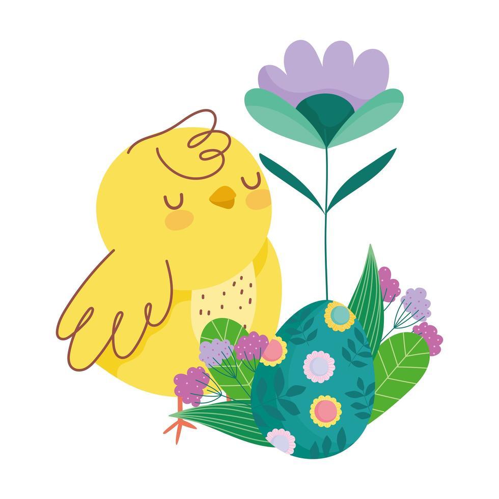 gelukkige Pasen schattige kip met ei versierd met bloemen bladeren vector