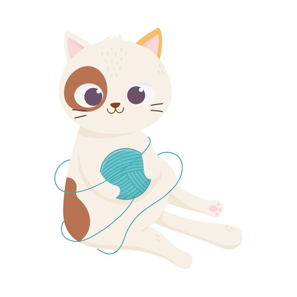 katten maken me blij, gevlekte kat met bolletje wol cartoon vector