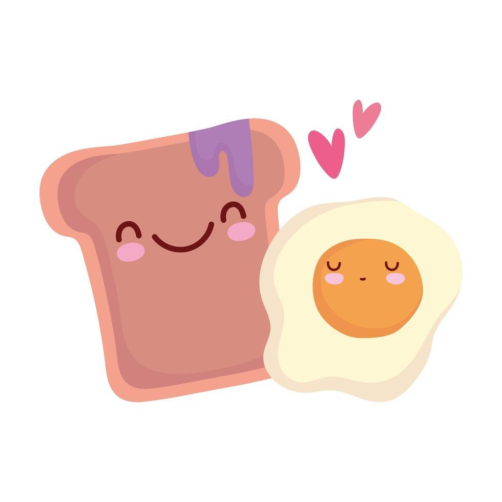 gebakken ei en brood met jam menu karakter cartoon eten schattig vector