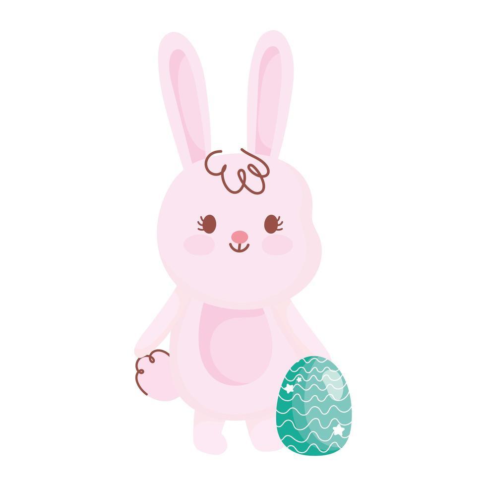 vrolijk Pasen, schattig konijn met het ornament van de eidecoratie vector