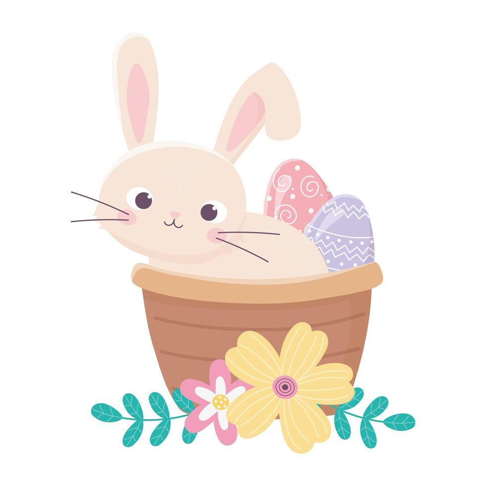 gelukkige paasdag, konijn in de mand geschilderde decoratie van eibloemen vector