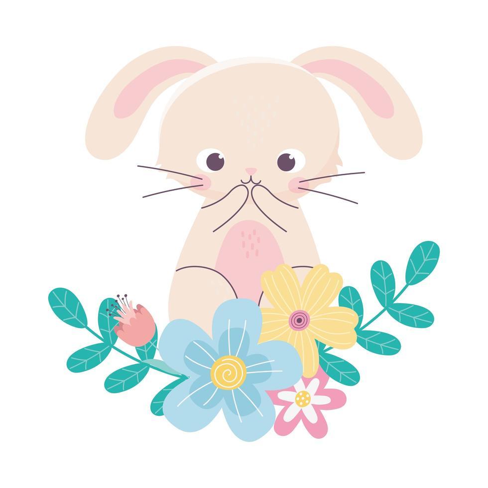 gelukkig Pasen schattig konijn bloemen bladeren natuur decoratie vector