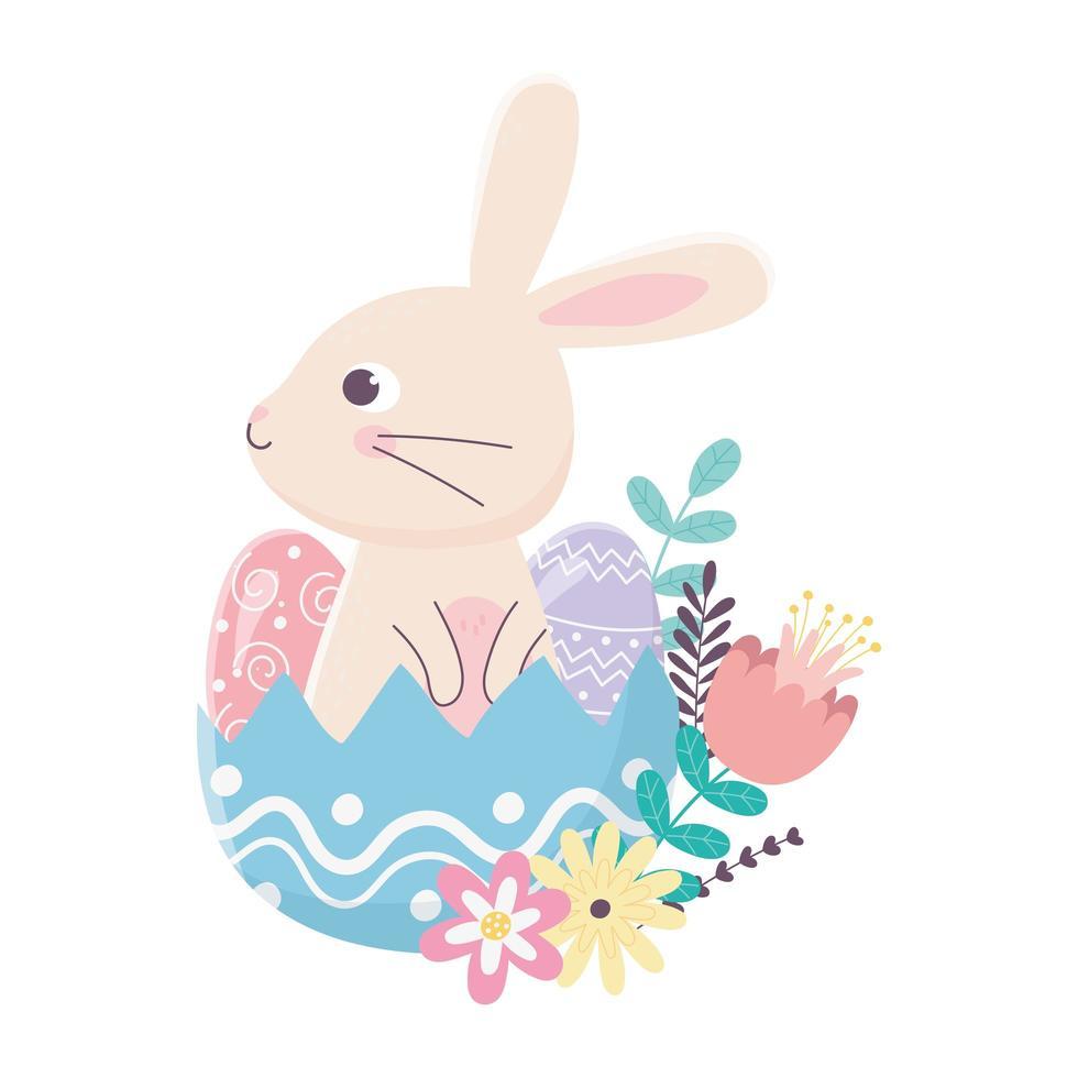 gelukkige paasdag, konijn in eierschaaleieren bloeit gebladerte vector