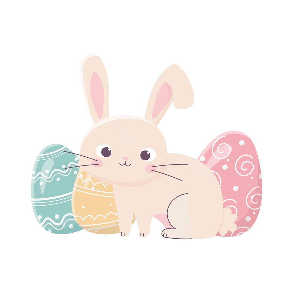 gelukkig Pasen klein konijn met eieren traditionele viering vector