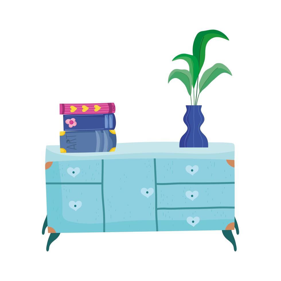 stapel boeken en plant in vaas op commode vector