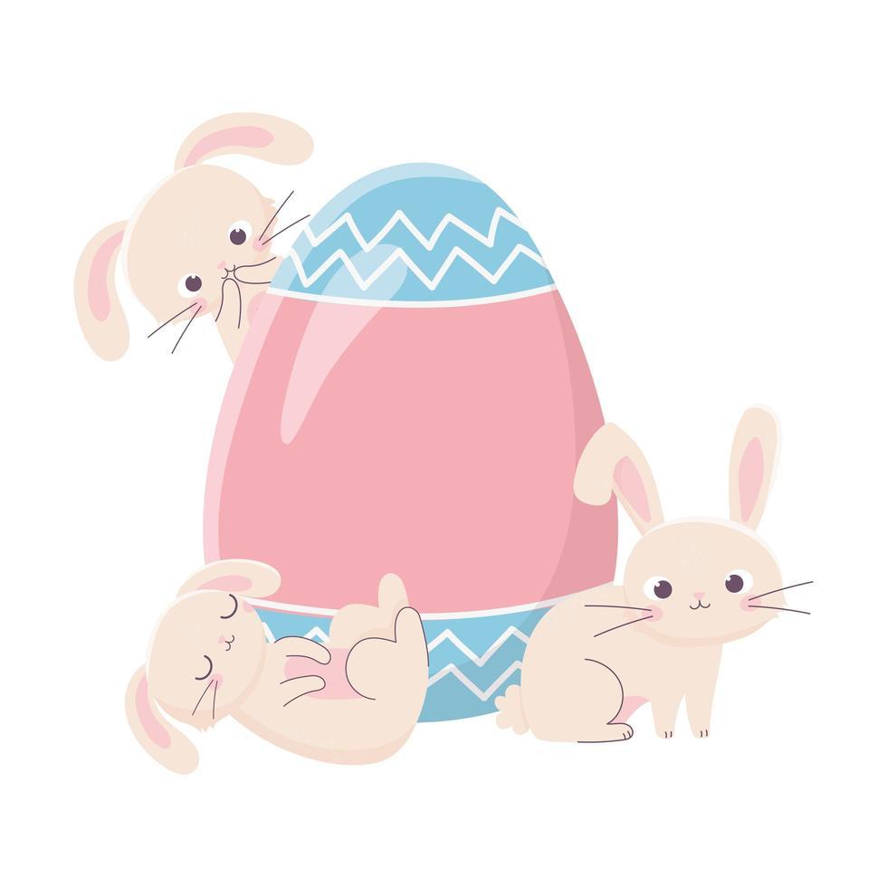 gelukkige paasdag konijntjes met delicate eierdecoratie vector