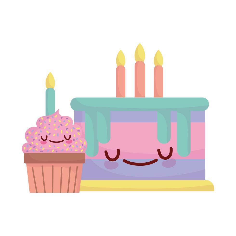 verjaardagstaart en cupcake met kaarsen menu karakter cartoon eten schattig vector