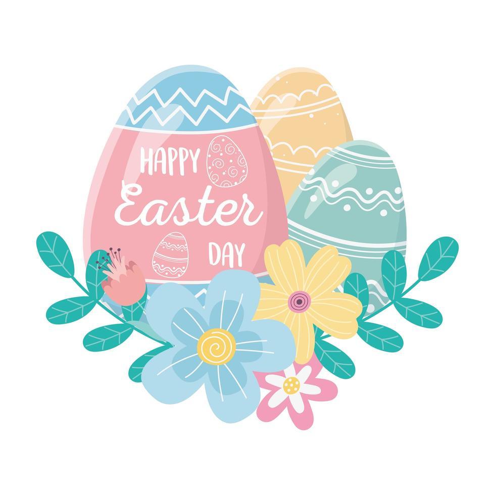 gelukkige paasdag, belettering in ei en decoratieve eieren bloemen gebladerte vector