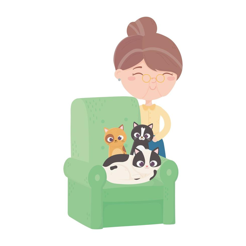 katten maken me blij, oude vrouw met katten die met een bal spelen in de bank vector