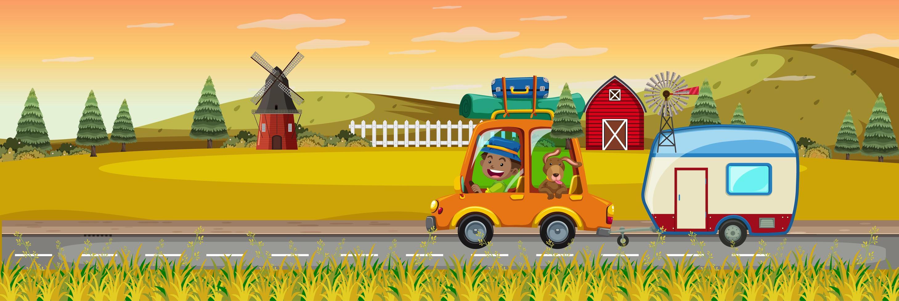 kinderen op roadtrip in horizontale boerderijscène in zonsondergangtijd vector