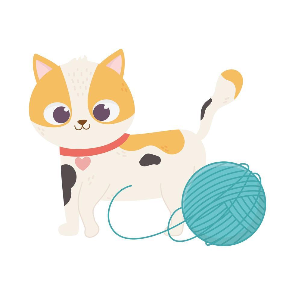 katten maken me blij, schattige gevlekte kat met bolletjes wol vector