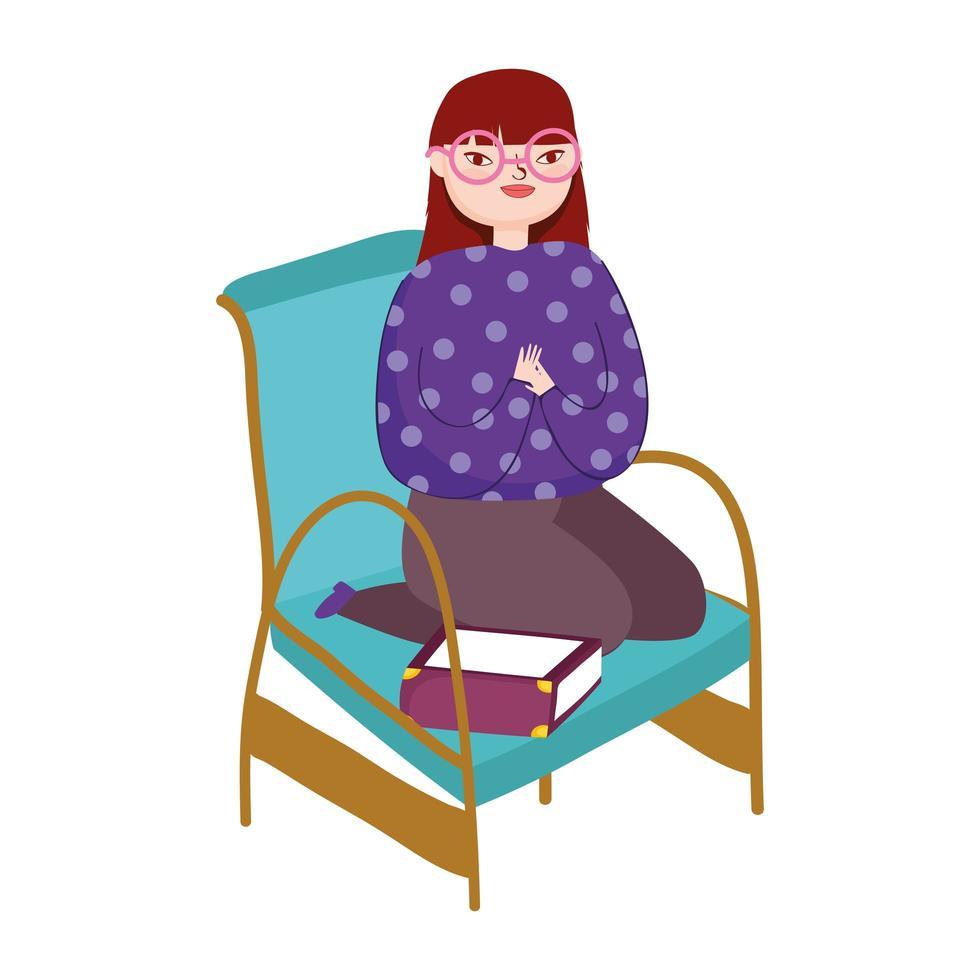 jonge vrouw zittend in stoel boek kat en muur, boek dag vector