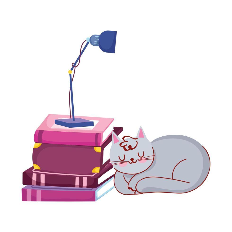 kattenslaap stapel boeken en lamp, vector