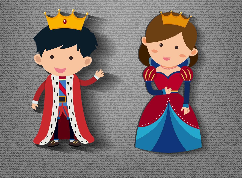 kleine koning en koningin stripfiguur op grijze achtergrond vector