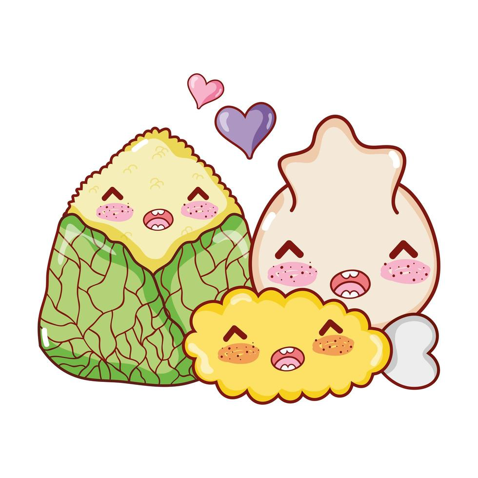 kawaii tempura knoedel en rijst eten japanse cartoon, sushi en broodjes vector