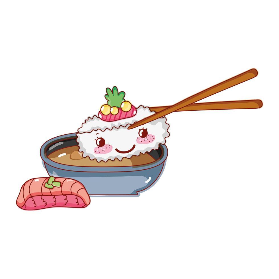 kawaii knoedel in stokjes saus tempura wasabi eten japanse cartoon, sushi en broodjes vector