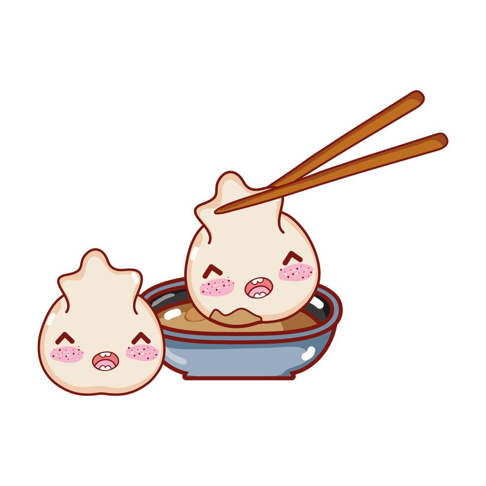 kawaii rijstbroodje vlees knoedel eten japanse cartoon, sushi en broodjes vector