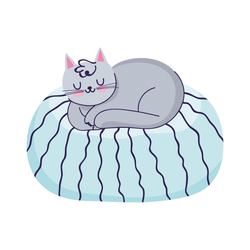 Kat slapen op kussen cartoon geïsoleerde pictogram vector